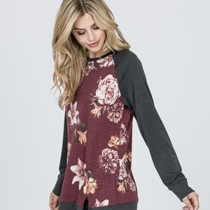 New Listing!  Red Lolly Burgundy Gray Floral Top